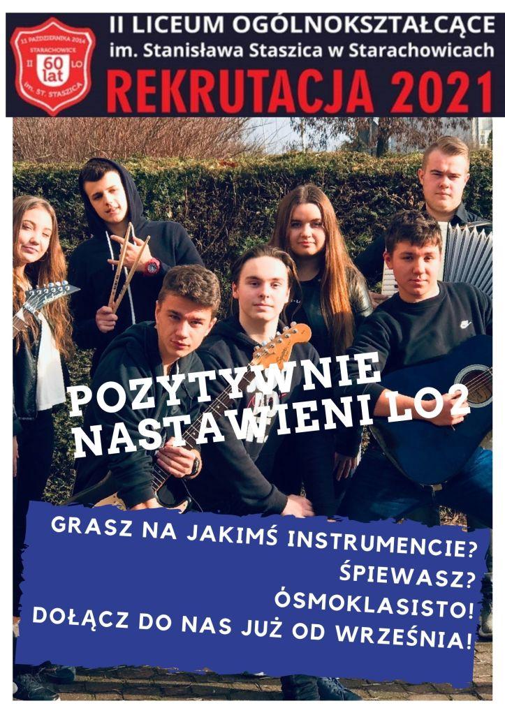 Plakat promocyjny - szkolny zespół muzyczny Pozytywnie Nastawieni LO2